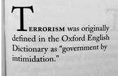 Terrorism: Government by Intimidation